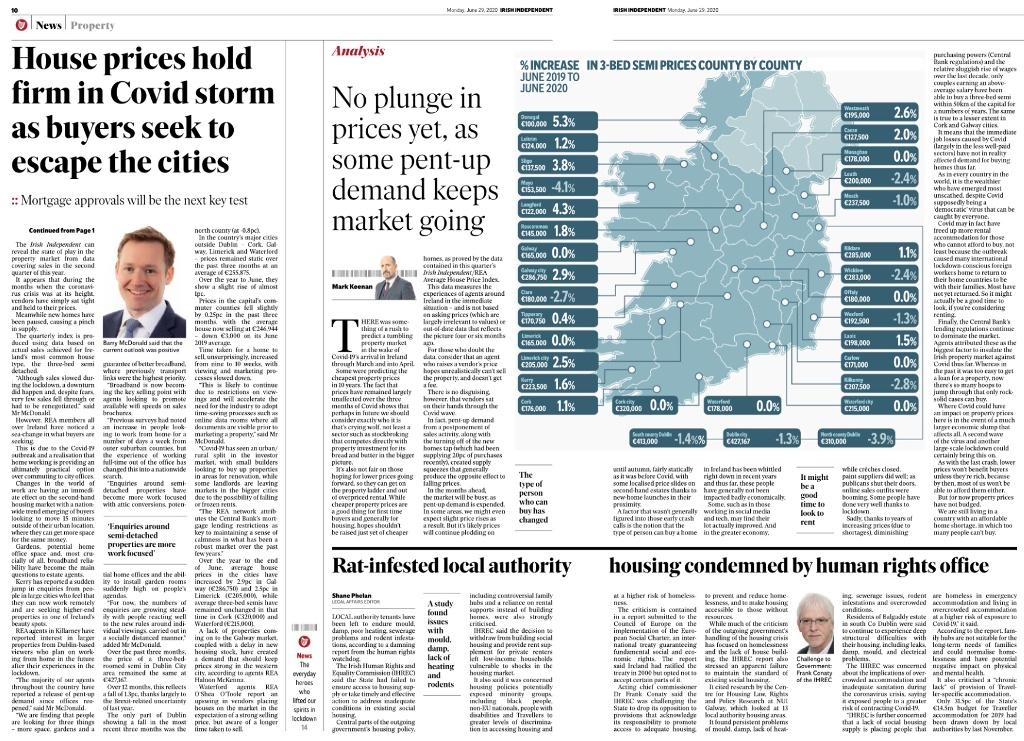 REA Average House Price Index Q2 2020