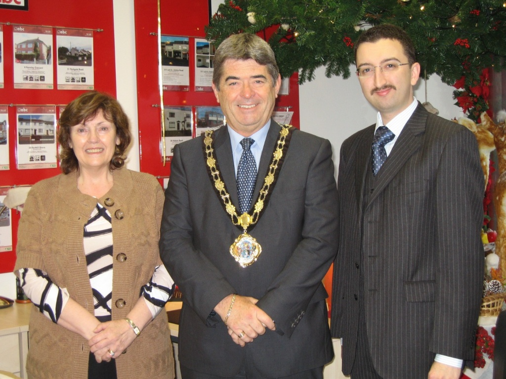 Alderman Billy Webb, the Mayor of the Newtownabbey, with Arleen Barton and Graham Barton from ABC Estate Agents at the opening of their Christmas Decorations.