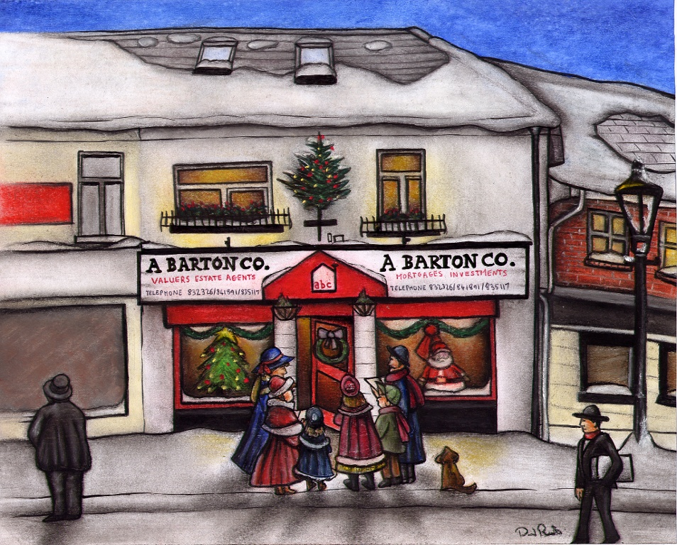 Pastel Drawing of A Barton Company Estate Agents at Christmas